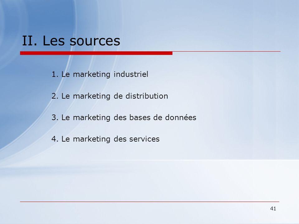 41 II. Les sources 1. Le marketing industriel 2. Le marketing de distribution 3. Le marketing des bases de données 4. Le marketing des services