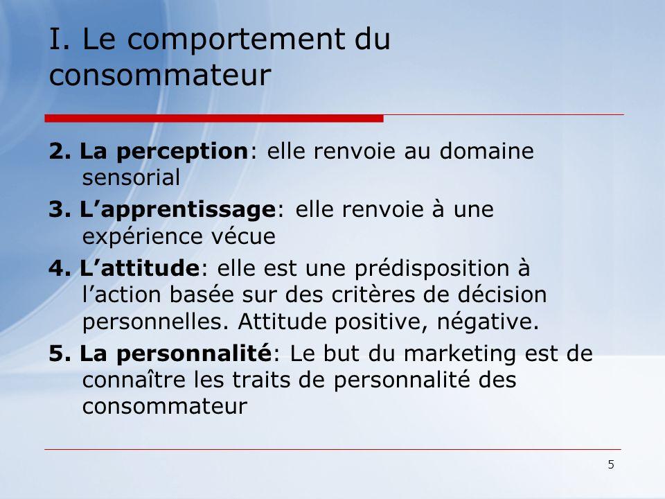 5 I. Le comportement du consommateur 2. La perception: elle renvoie au domaine sensorial 3. Lapprentissage: elle renvoie à une expérience vécue 4. Lat