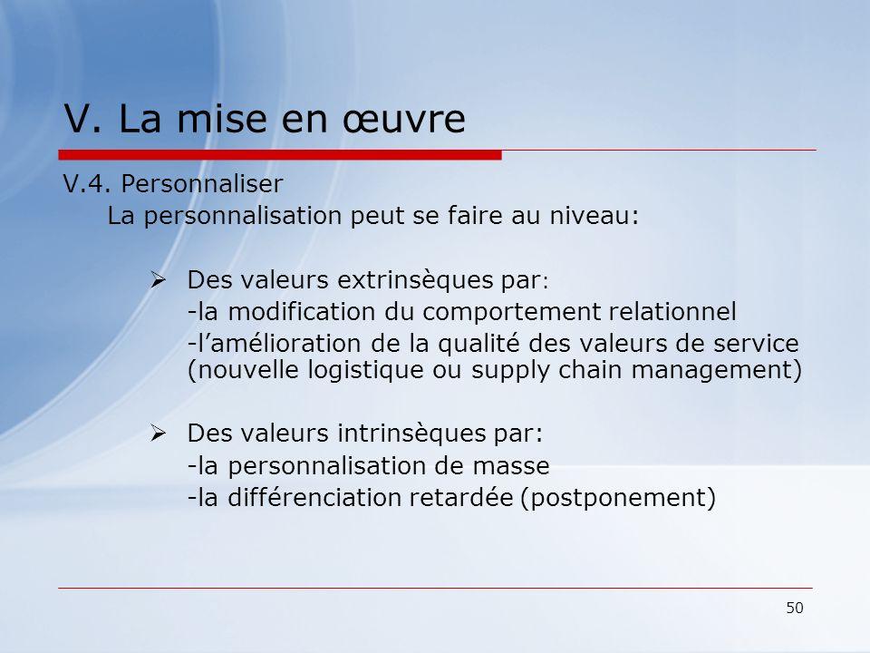 50 V. La mise en œuvre V.4. Personnaliser La personnalisation peut se faire au niveau: Des valeurs extrinsèques par : -la modification du comportement