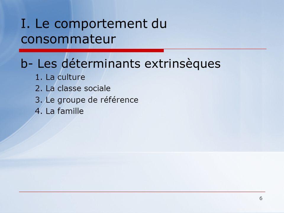 6 I. Le comportement du consommateur b- Les déterminants extrinsèques 1. La culture 2. La classe sociale 3. Le groupe de référence 4. La famille