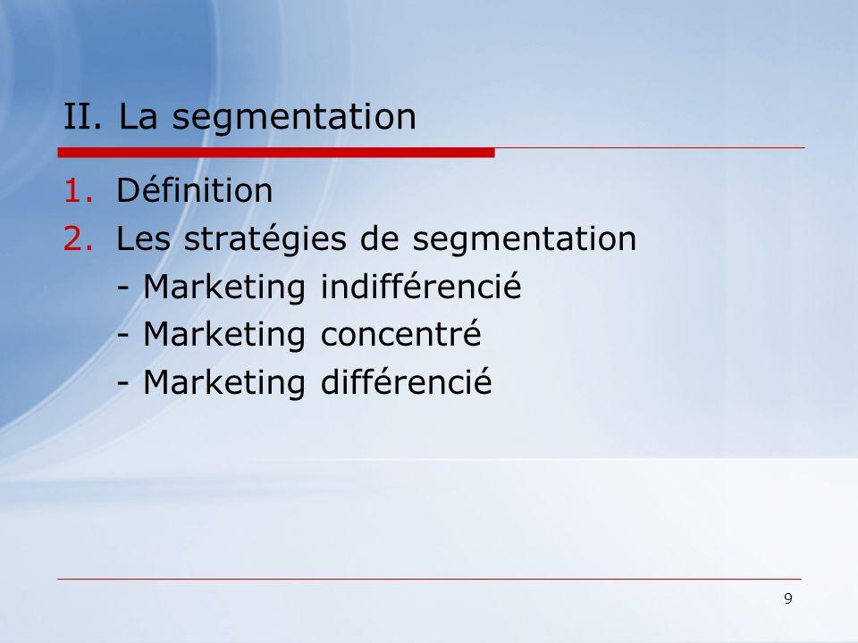 9 II. La segmentation 1.Définition 2.Les stratégies de segmentation - Marketing indifférencié - Marketing concentré - Marketing différencié