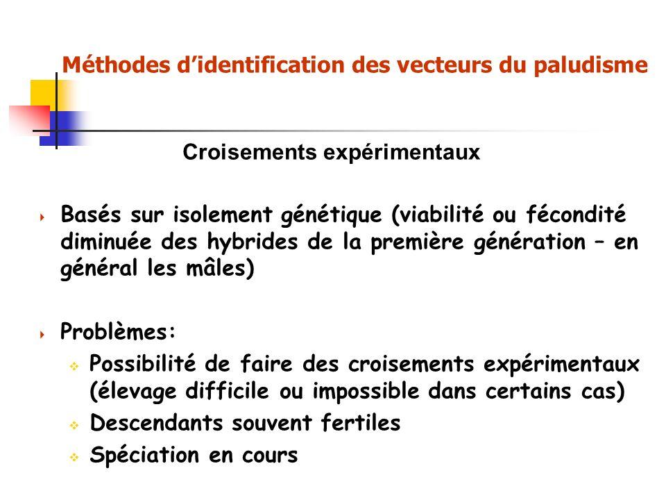 Croisements expérimentaux Basés sur isolement génétique (viabilité ou fécondité diminuée des hybrides de la première génération – en général les mâles) Problèmes: Possibilité de faire des croisements expérimentaux (élevage difficile ou impossible dans certains cas) Descendants souvent fertiles Spéciation en cours Méthodes didentification des vecteurs du paludisme