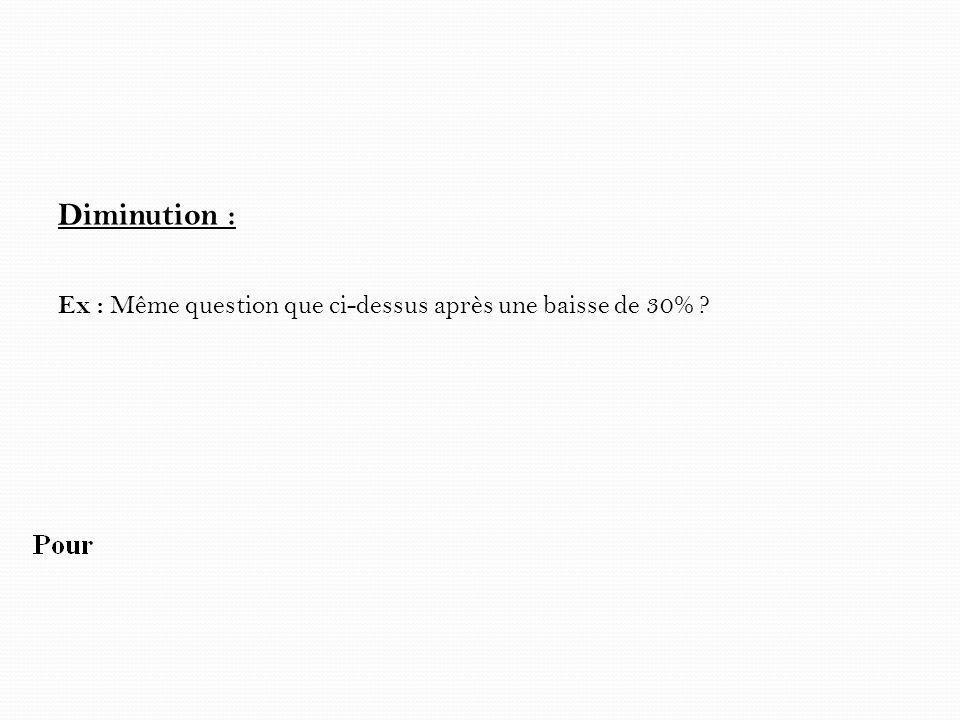 Diminution : Ex : Même question que ci-dessus après une baisse de 30% ?