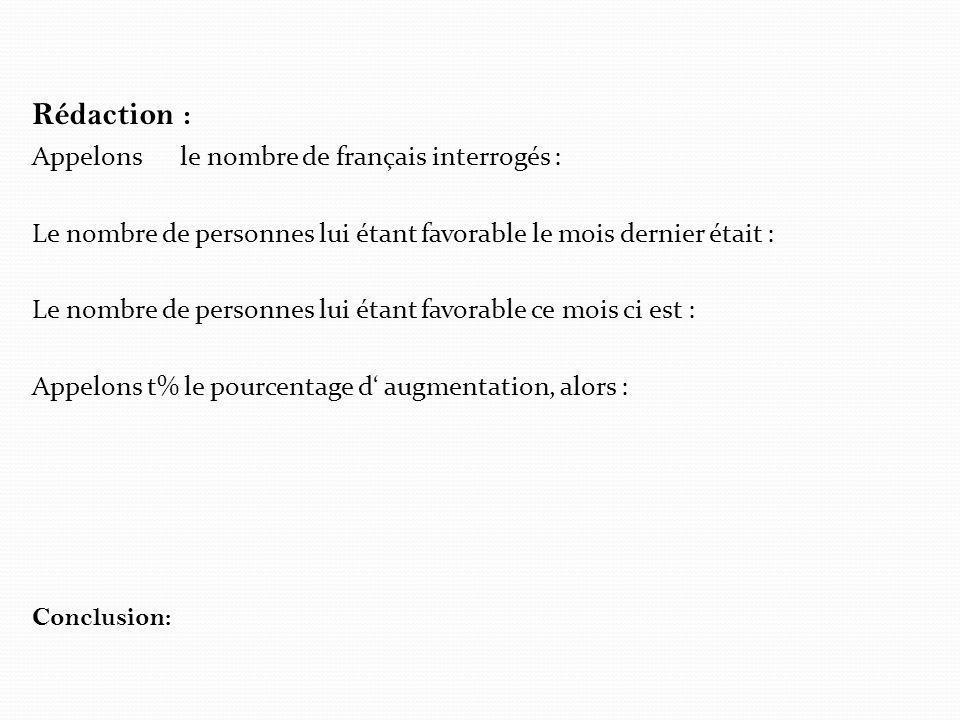 Rédaction : Appelons le nombre de français interrogés : Le nombre de personnes lui étant favorable le mois dernier était : Le nombre de personnes lui