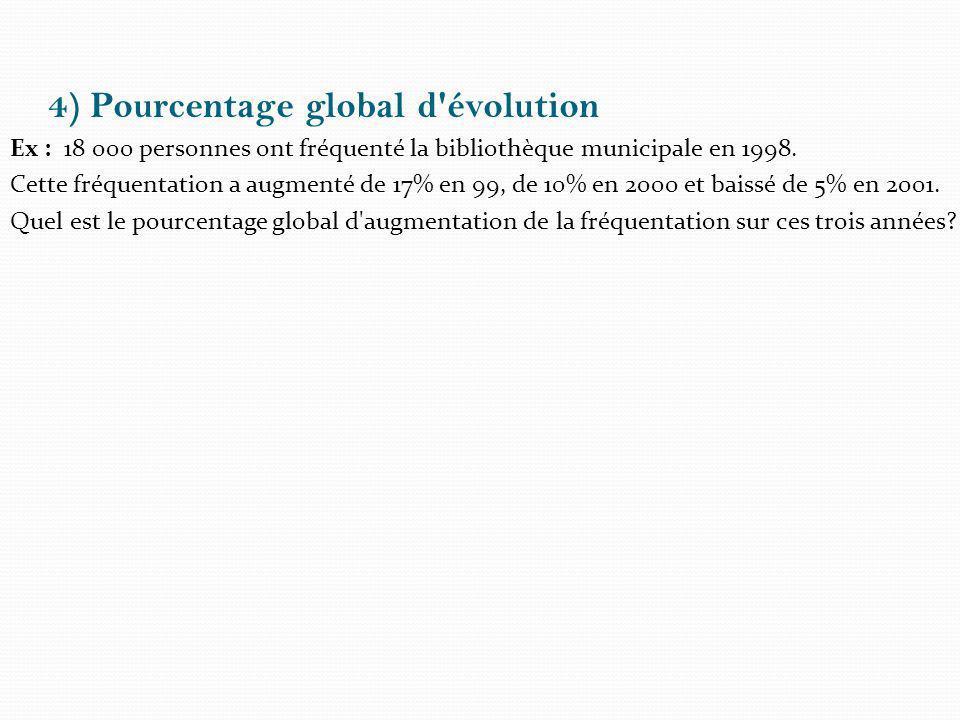 4) Pourcentage global d'évolution Ex : 18 000 personnes ont fréquenté la bibliothèque municipale en 1998. Cette fréquentation a augmenté de 17% en 99,