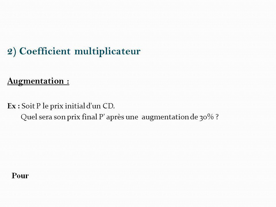 2) Coefficient multiplicateur Augmentation : Ex : Soit P le prix initial d un CD.