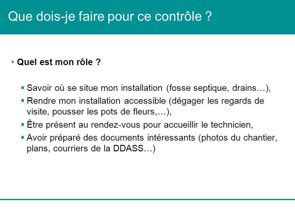 Que dois-je faire pour ce contrôle ? Quel est mon rôle ? Savoir où se situe mon installation (fosse septique, drains…), Rendre mon installation access