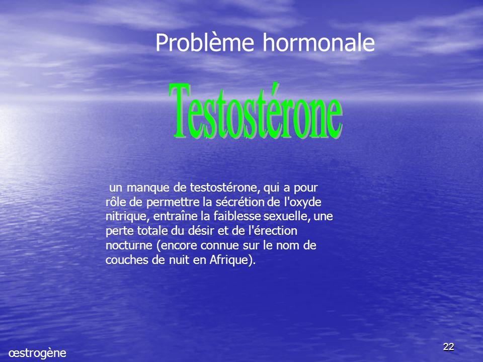 22 un manque de testostérone, qui a pour rôle de permettre la sécrétion de l oxyde nitrique, entraîne la faiblesse sexuelle, une perte totale du désir et de l érection nocturne (encore connue sur le nom de couches de nuit en Afrique).