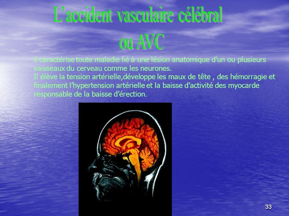 33 il caractérise toute maladie lié à une lésion anatomique dun ou plusieurs vaisseaux du cerveau comme les neurones.