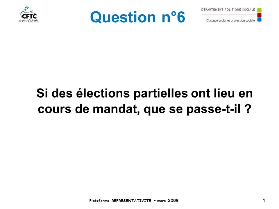 Question n°6 Si des élections partielles ont lieu en cours de mandat, que se passe-t-il ? Plateforme REFRESENTATIVITE – mars 2009 1