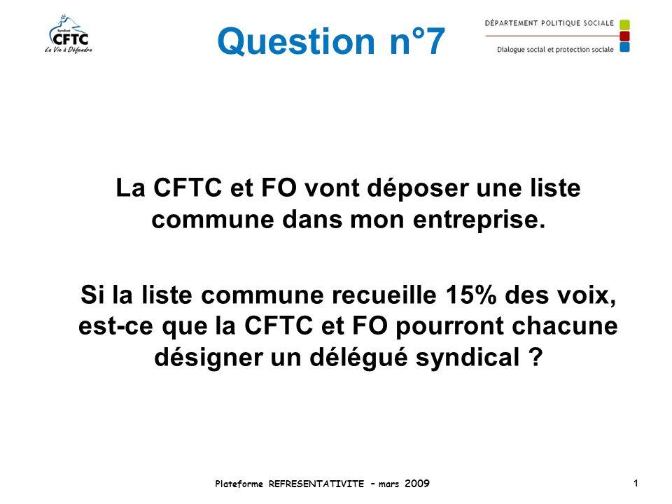 Question n°7 La CFTC et FO vont déposer une liste commune dans mon entreprise. Si la liste commune recueille 15% des voix, est-ce que la CFTC et FO po