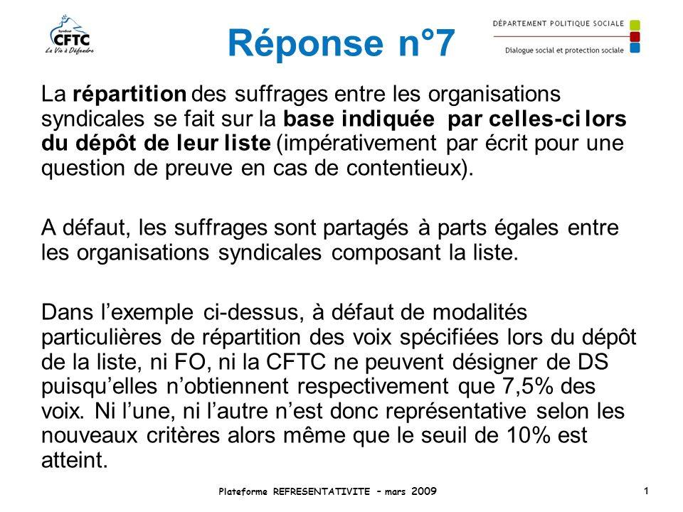 Réponse n°7 La répartition des suffrages entre les organisations syndicales se fait sur la base indiquée par celles-ci lors du dépôt de leur liste (im