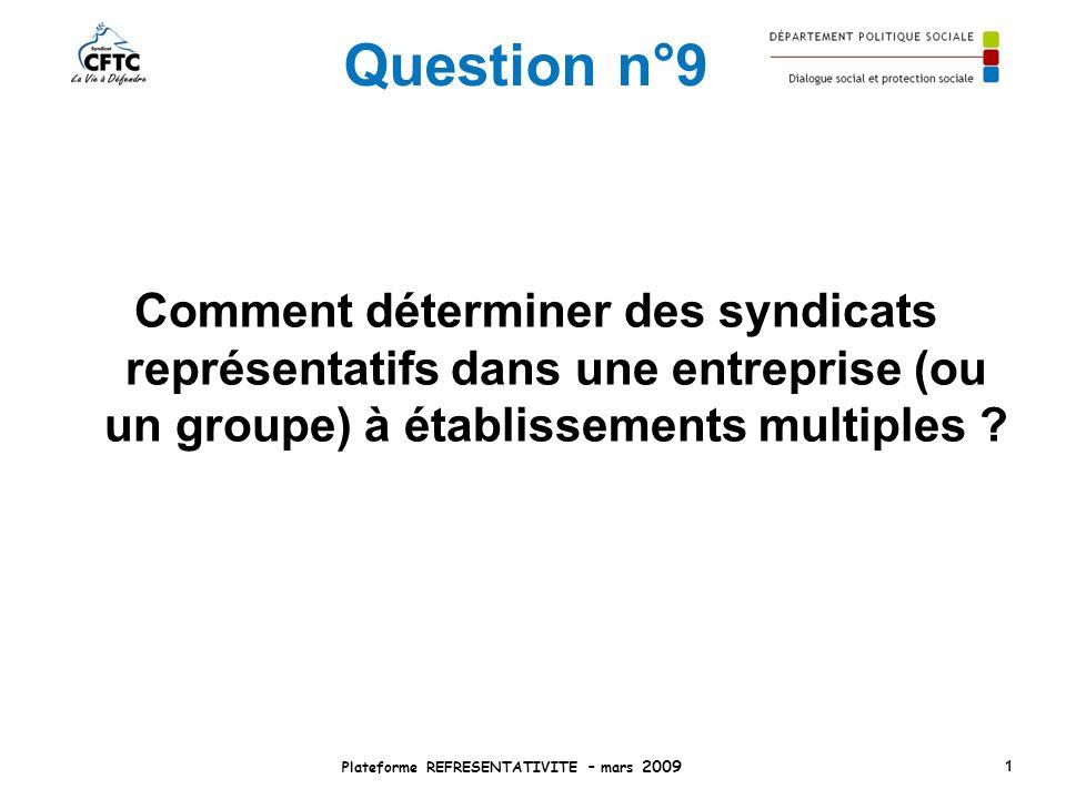 Question n°9 Comment déterminer des syndicats représentatifs dans une entreprise (ou un groupe) à établissements multiples ? Plateforme REFRESENTATIVI