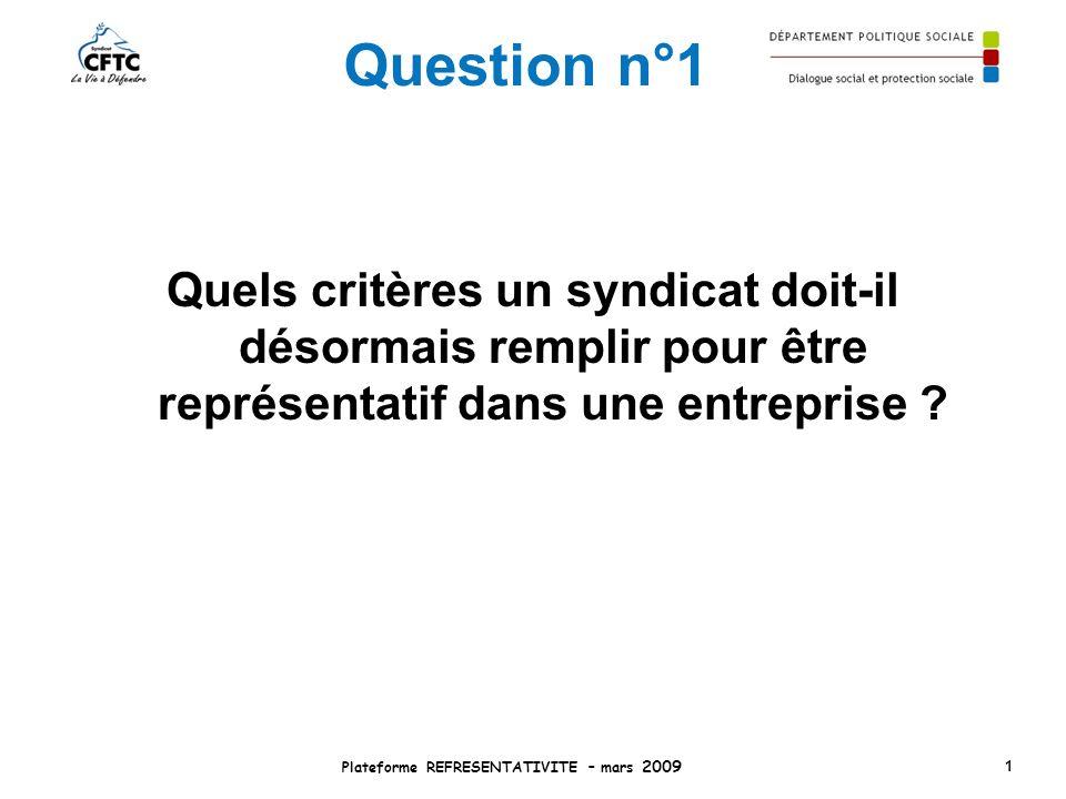 Question n°1 Quels critères un syndicat doit-il désormais remplir pour être représentatif dans une entreprise ? Plateforme REFRESENTATIVITE – mars 200