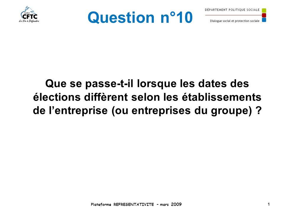 Question n°10 Que se passe-t-il lorsque les dates des élections diffèrent selon les établissements de lentreprise (ou entreprises du groupe) ? Platefo