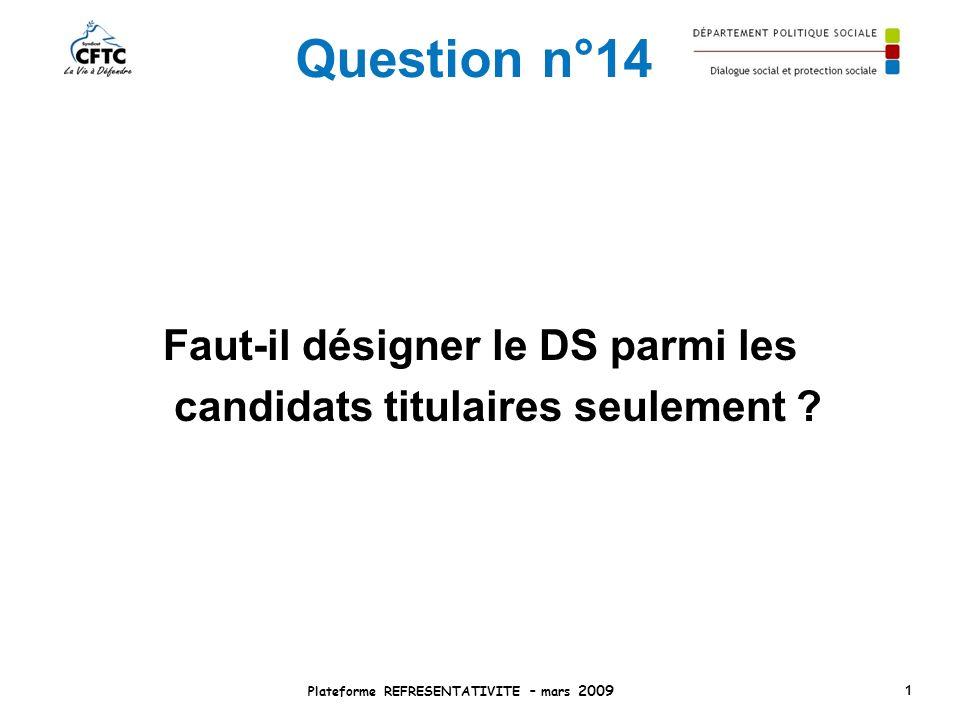 Question n°14 Faut-il désigner le DS parmi les candidats titulaires seulement ? Plateforme REFRESENTATIVITE – mars 2009 1