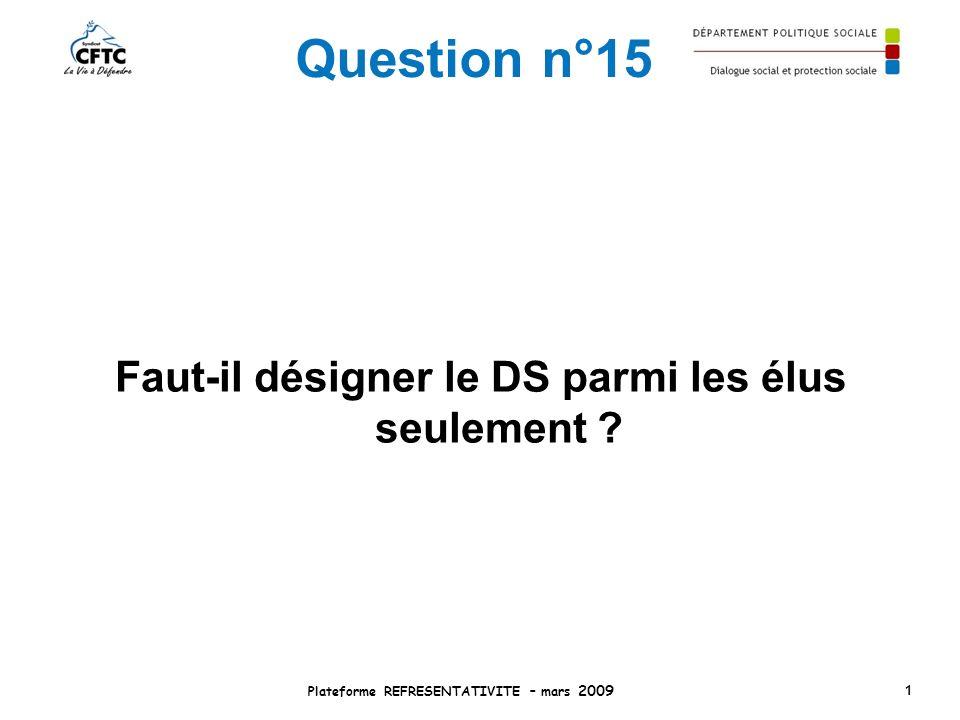 Question n°15 Faut-il désigner le DS parmi les élus seulement ? Plateforme REFRESENTATIVITE – mars 2009 1