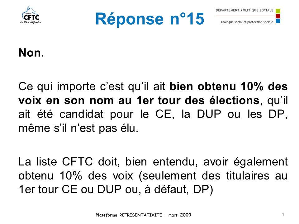 Réponse n°15 Non. Ce qui importe cest quil ait bien obtenu 10% des voix en son nom au 1er tour des élections, quil ait été candidat pour le CE, la DUP