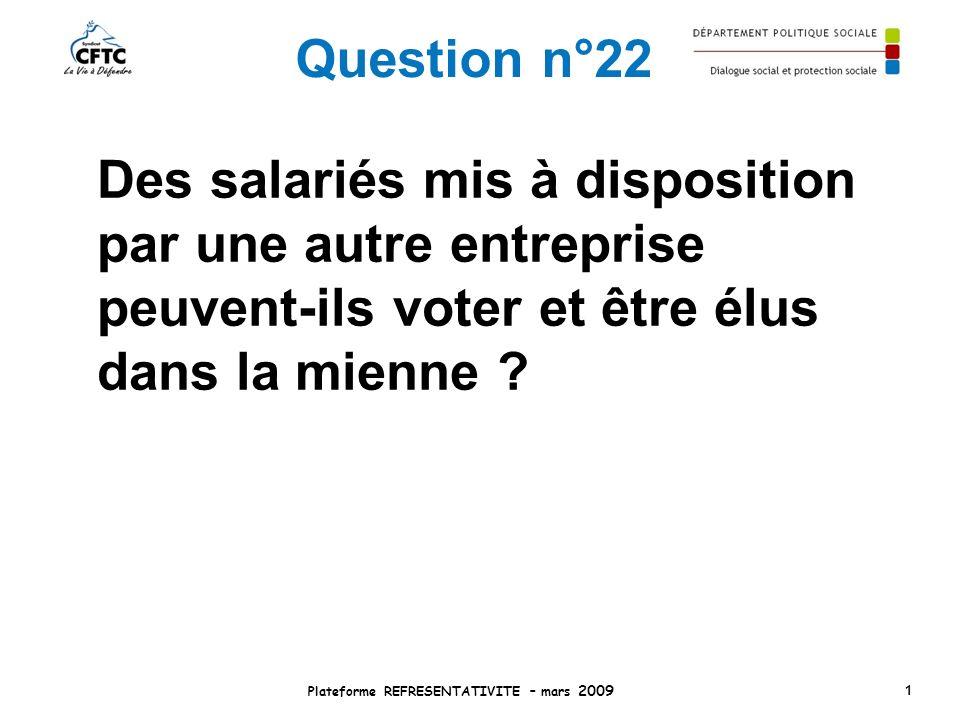 Question n°22 Des salariés mis à disposition par une autre entreprise peuvent-ils voter et être élus dans la mienne ? Plateforme REFRESENTATIVITE – ma