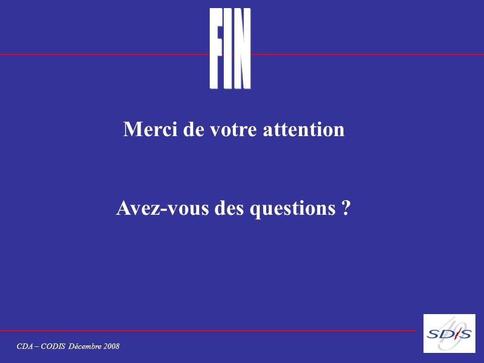 Merci de votre attention Avez-vous des questions ? CDA – CODIS Décembre 2008