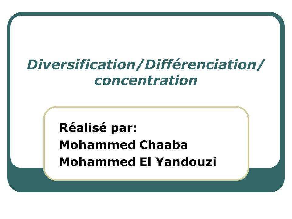 Diversification/Différenciation/ concentration Réalisé par: Mohammed Chaaba Mohammed El Yandouzi