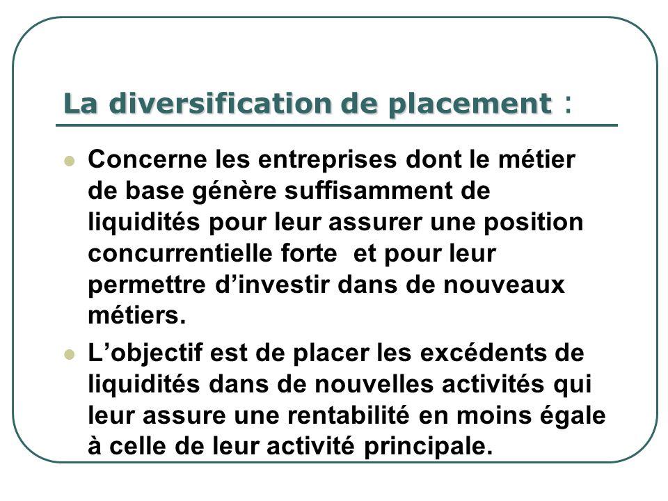 La diversification de placement La diversification de placement : Concerne les entreprises dont le métier de base génère suffisamment de liquidités po