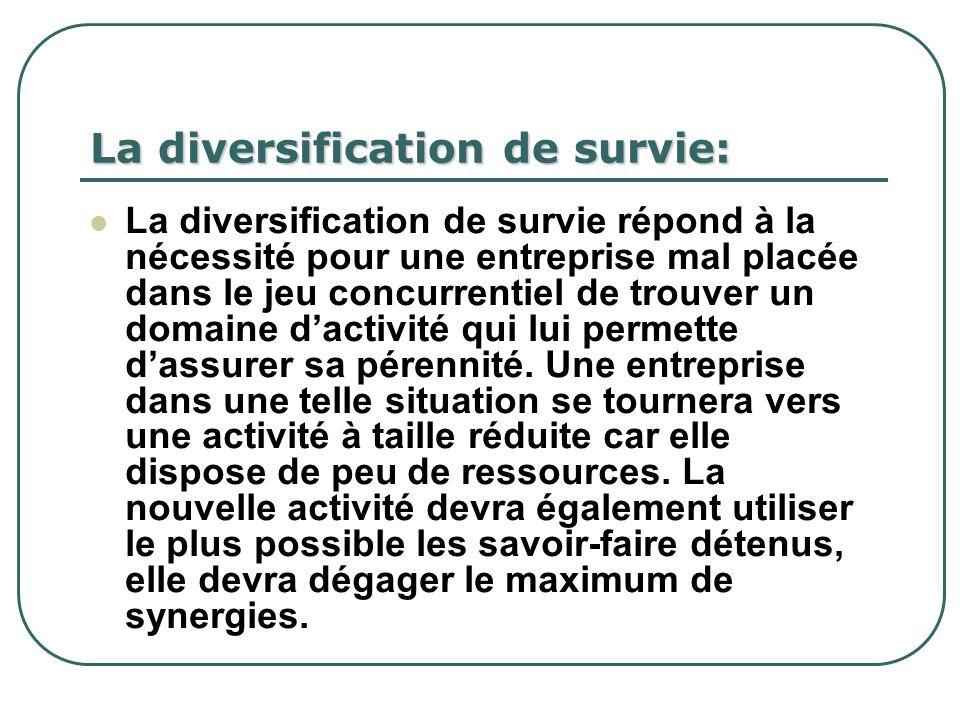 La diversification de survie: La diversification de survie répond à la nécessité pour une entreprise mal placée dans le jeu concurrentiel de trouver u