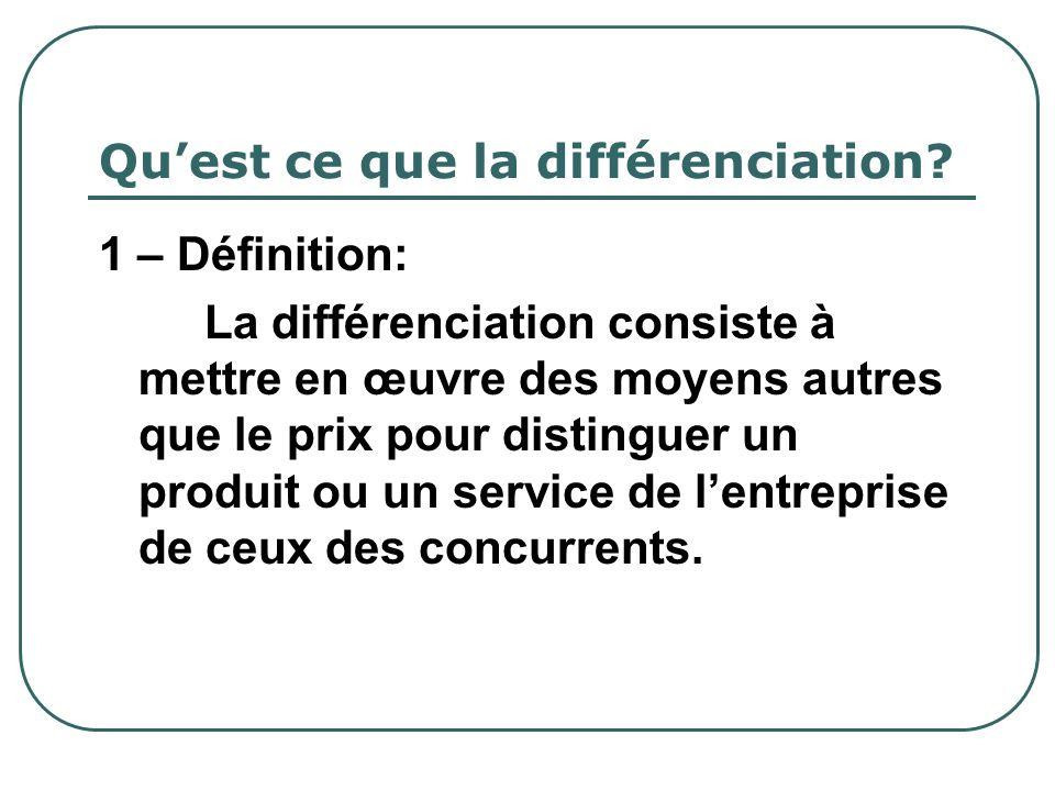 Quest ce que la différenciation? 1 – Définition: La différenciation consiste à mettre en œuvre des moyens autres que le prix pour distinguer un produi