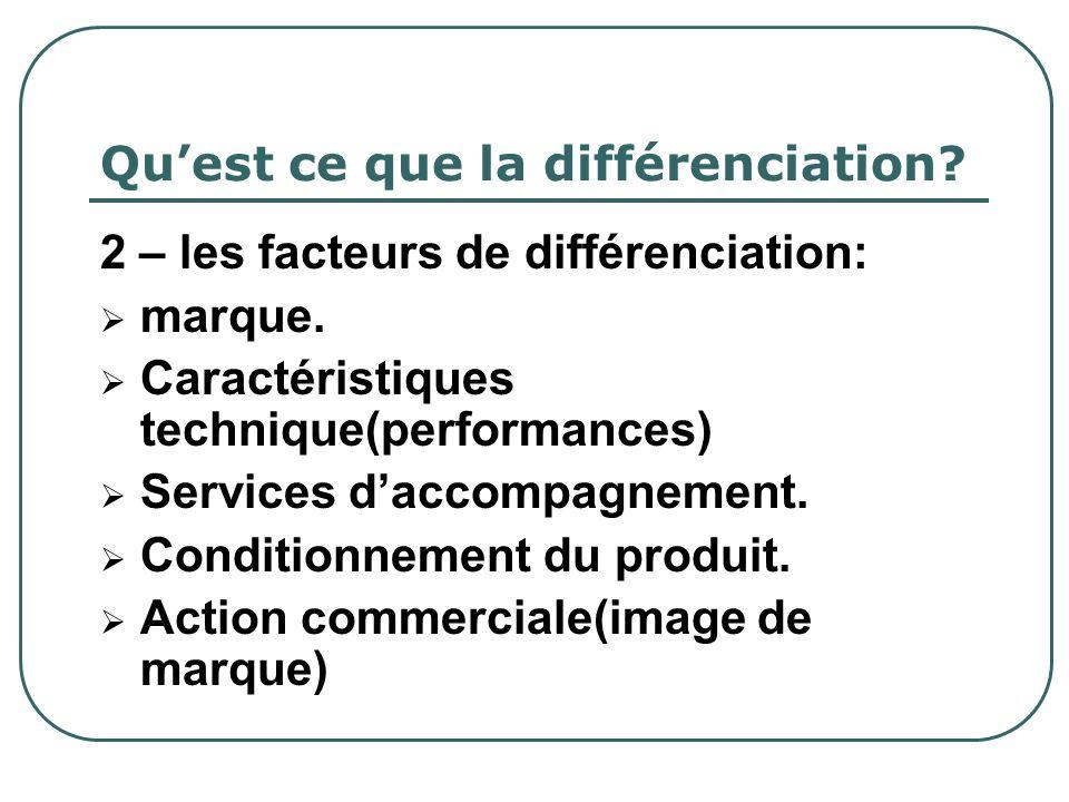 Quest ce que la différenciation? 2 – les facteurs de différenciation: marque. Caractéristiques technique(performances) Services daccompagnement. Condi
