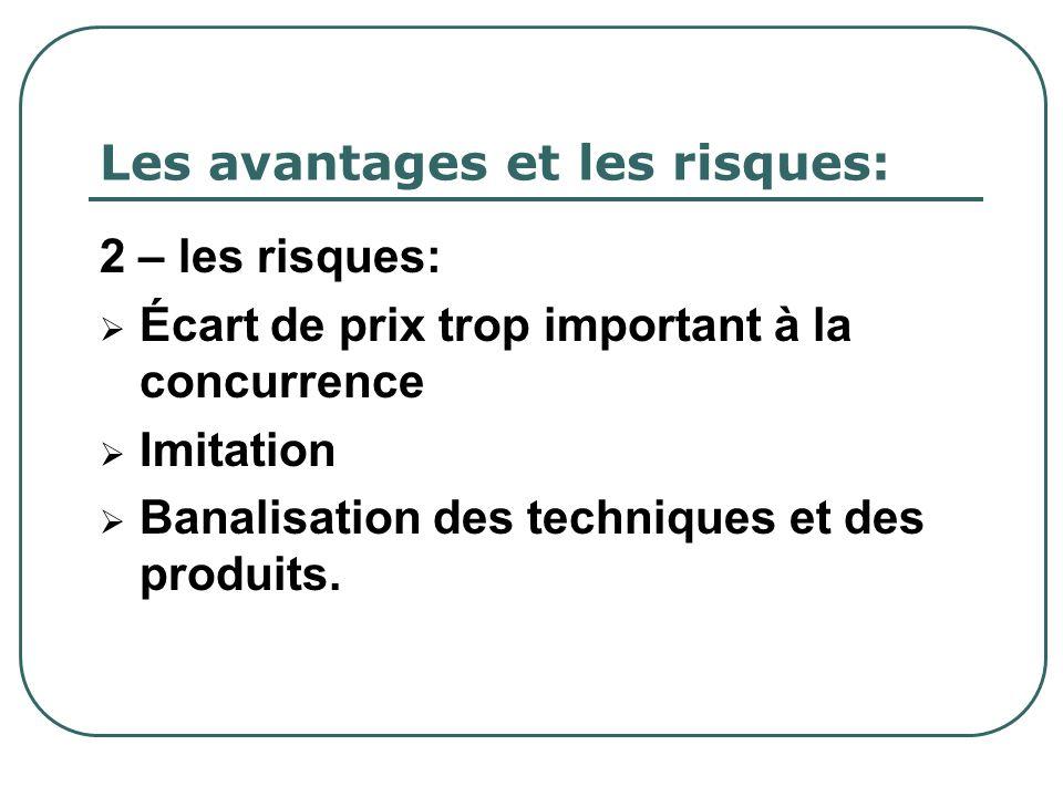 Les avantages et les risques: 2 – les risques: Écart de prix trop important à la concurrence Imitation Banalisation des techniques et des produits.