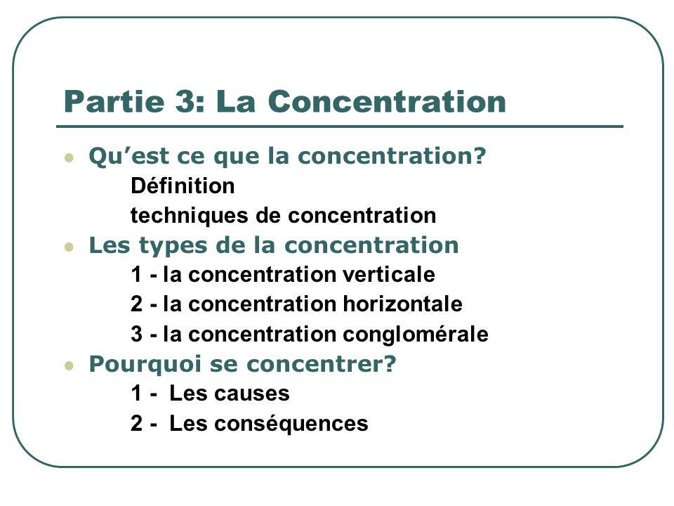 Partie 3: La Concentration Quest ce que la concentration? Définition techniques de concentration Les types de la concentration 1 - la concentration ve