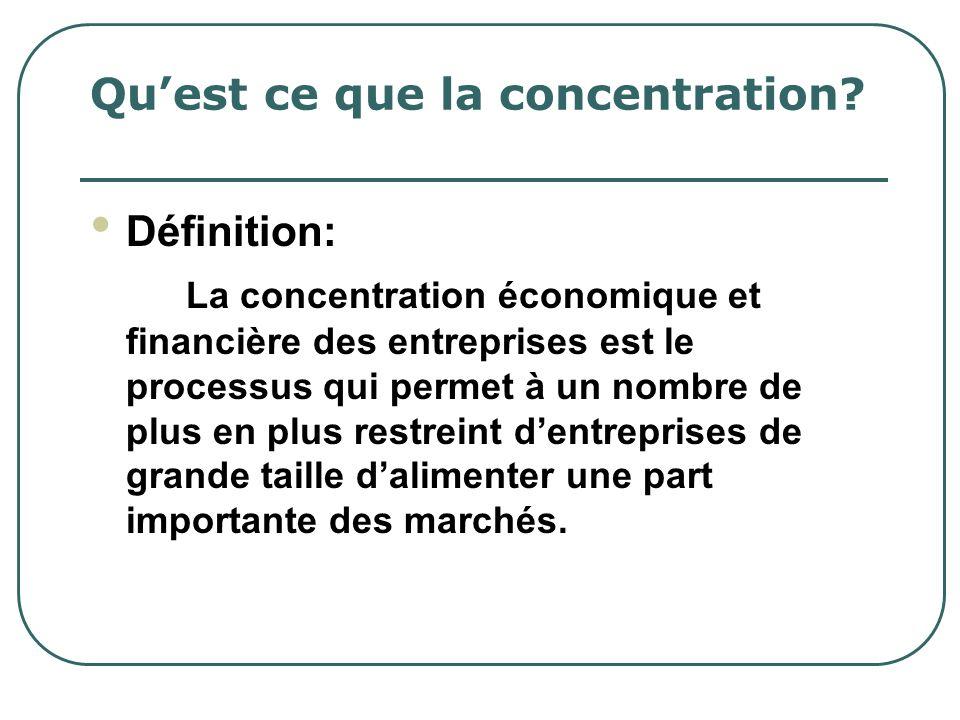 Quest ce que la concentration? Définition: La concentration économique et financière des entreprises est le processus qui permet à un nombre de plus e