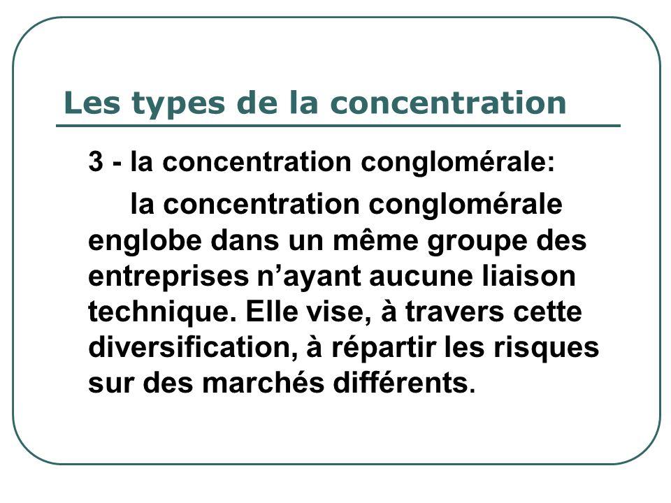 Les types de la concentration 3 - la concentration conglomérale: la concentration conglomérale englobe dans un même groupe des entreprises nayant aucu