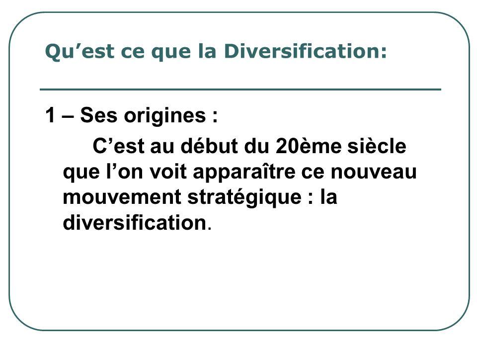 Quest ce que la Diversification: 2 – Définition : Cela consiste à ajouter des métiers nouveaux aux activités actuelles dans lentreprise.
