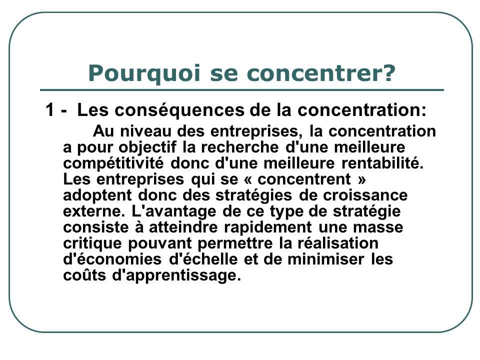 Pourquoi se concentrer? 1 - Les conséquences de la concentration: Au niveau des entreprises, la concentration a pour objectif la recherche d'une meill