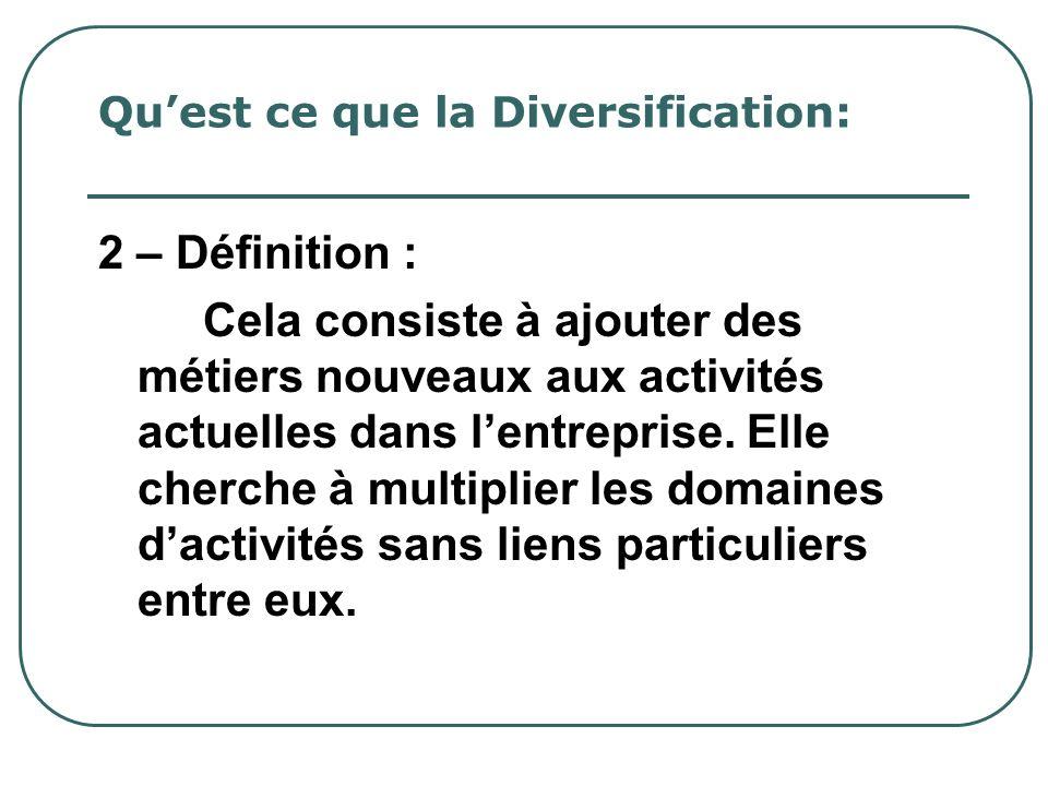 Quest ce que la Diversification: 2 – Définition : Cela consiste à ajouter des métiers nouveaux aux activités actuelles dans lentreprise. Elle cherche