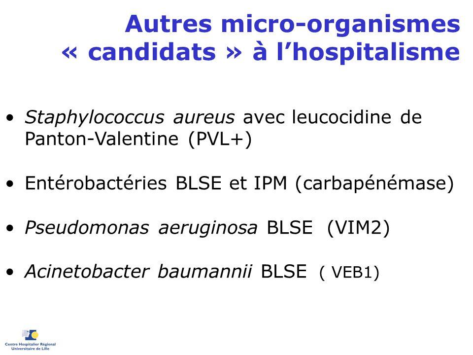 Autres micro-organismes « candidats » à lhospitalisme Staphylococcus aureus avec leucocidine de Panton-Valentine (PVL+) Entérobactéries BLSE et IPM (c