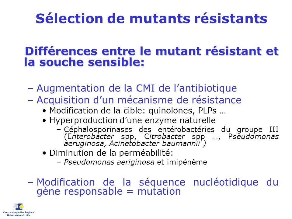 Sélection de mutants résistants Différences entre le mutant résistant et la souche sensible: Différences entre le mutant résistant et la souche sensib
