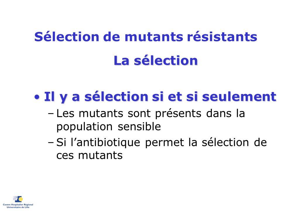 Sélection de mutants résistants La sélection Il y a sélection si et si seulementIl y a sélection si et si seulement –Les mutants sont présents dans la