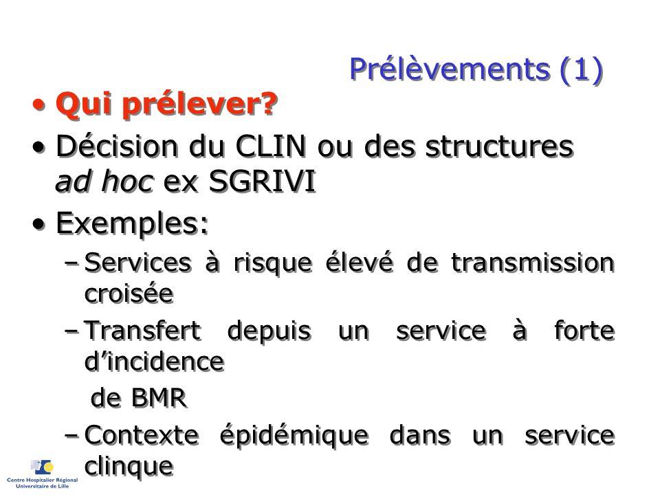 Prélèvements (1) Qui prélever? Décision du CLIN ou des structures ad hoc ex SGRIVI Exemples: –Services à risque élevé de transmission croisée –Transfe