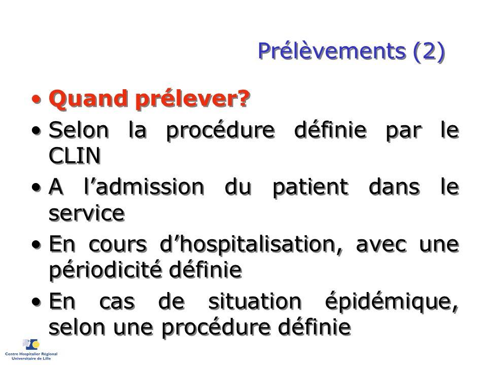 Prélèvements (2) Quand prélever? Selon la procédure définie par le CLIN A ladmission du patient dans le service En cours dhospitalisation, avec une pé