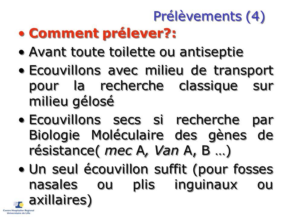 Prélèvements (4) Comment prélever?: Avant toute toilette ou antiseptie Ecouvillons avec milieu de transport pour la recherche classique sur milieu gél