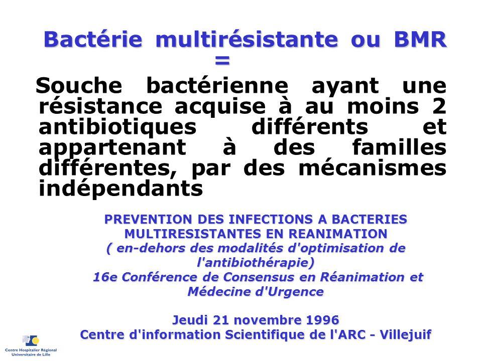 Bactérie multirésistante ou BMR = Souche bactérienne ayant une résistance acquise à au moins 2 antibiotiques différents et appartenant à des familles