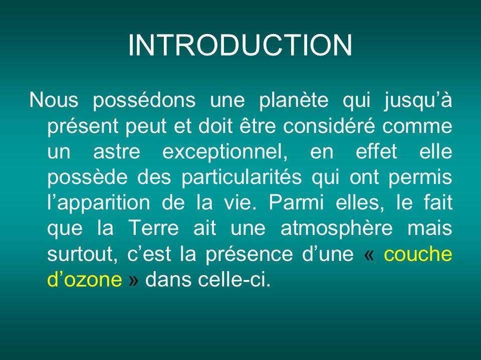 Cette section de latmosphère est, comme son nom lindique, composée dozone, molécule de gaz constituée de trois atomes doxygène.