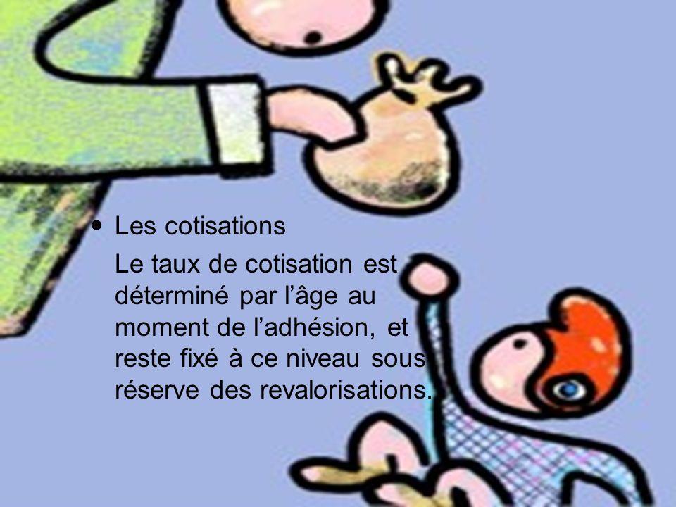 Les cotisations Le taux de cotisation est déterminé par lâge au moment de ladhésion, et reste fixé à ce niveau sous réserve des revalorisations.