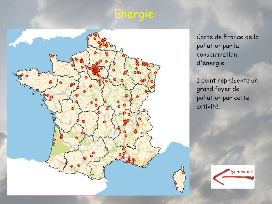 Energie Carte de France de la pollution par la consommation d'énergie. 1 point représente un grand foyer de pollution par cette activité. Sommaire