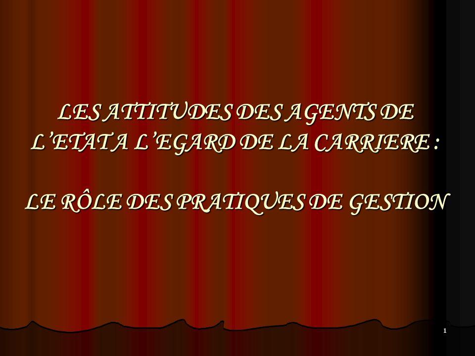 1 LES ATTITUDES DES AGENTS DE LETAT A LEGARD DE LA CARRIERE : LE RÔLE DES PRATIQUES DE GESTION