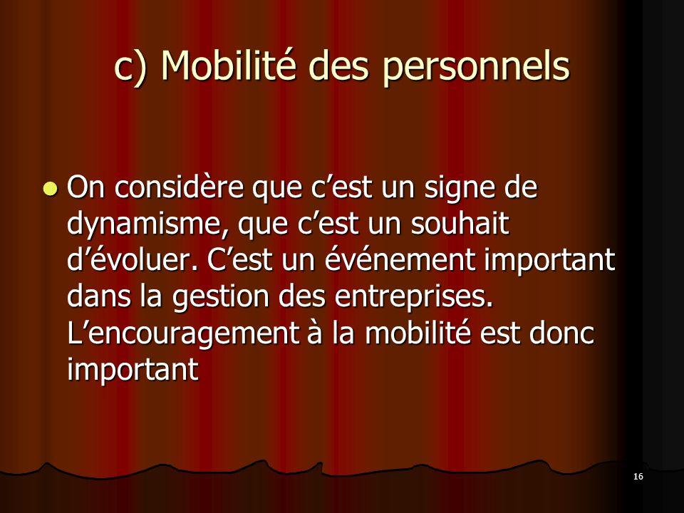 16 c) Mobilité des personnels On considère que cest un signe de dynamisme, que cest un souhait dévoluer.