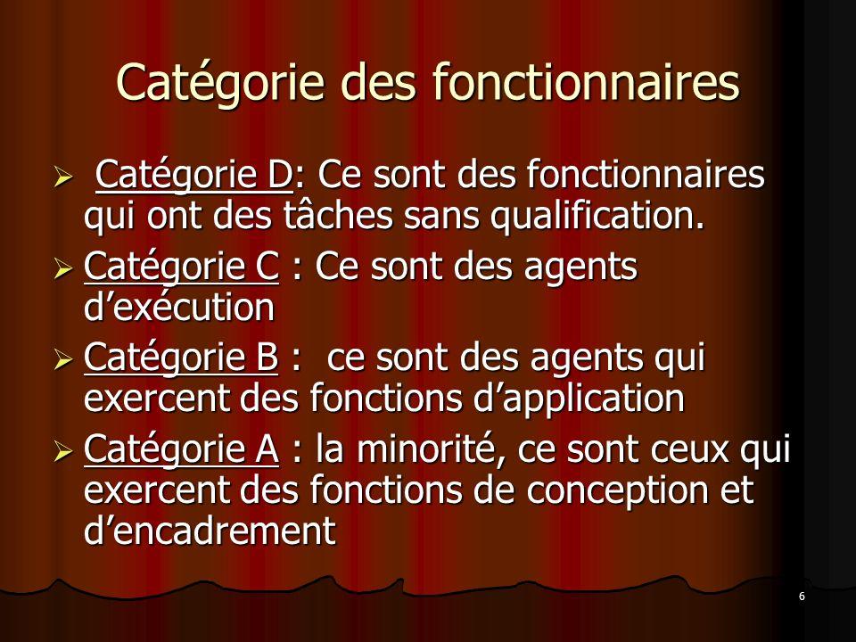 6 Catégorie des fonctionnaires Catégorie D: Ce sont des fonctionnaires qui ont des tâches sans qualification.