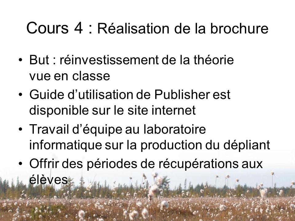 Cours 4 : Réalisation de la brochure But : réinvestissement de la théorie vue en classe Guide dutilisation de Publisher est disponible sur le site int